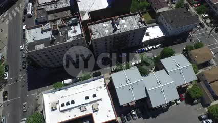 aerial rotating over Bronx buildings