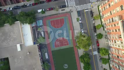 aerial shot overhead Harlem basketball court - rotating