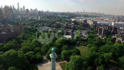 Aerial of Prison Ships Martyrs' Monument at Fort Greene Park in Brooklyn