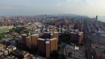 aerial view of Harlem buildings - housing projects in Uptown Manhattan
