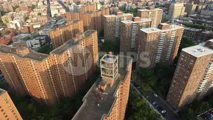 aerial of housing projects in Harlem - red brick buildings in Uptown Manhattan