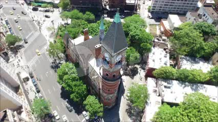 aerial lowering down to clock tower - Jefferson Market Library in Greenwich Village
