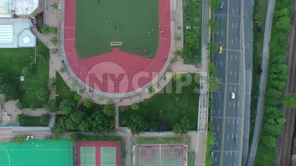 aerial of soccer field by West Side Highway in Manhattan NYC