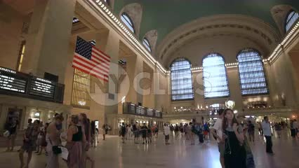 Grand Central Station Terminal interior with audio - big room with American flag