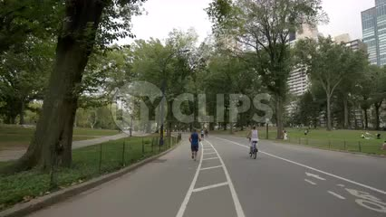 Central Park bicyclists riding bicycles on summer day in NYC