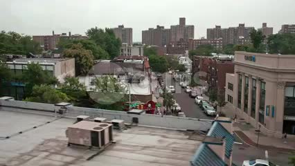 subway view of tenement buildings in the Bronx - elevated train in NYC
