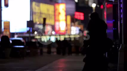 Times Square at night - silhouettes in Manhattan NYC
