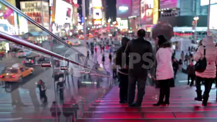 Times Square red stairs at night in winter