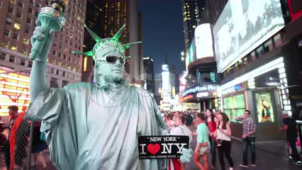 Statue of Liberty costume in Times Square at night