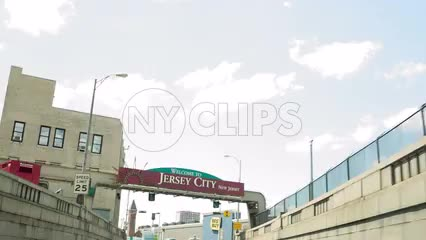 welcome to New Jersey sign from driver pov - driving in car
