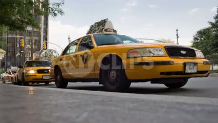 taxistand at Columbus Circle - taxicabs lined up on street in Manhattan NYC