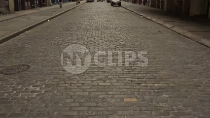 cobblestone street in SoHo - early morning in New York City