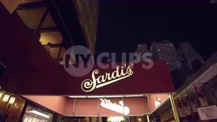famous Sardi's restaurant exterior awning - canopy at night in NYC