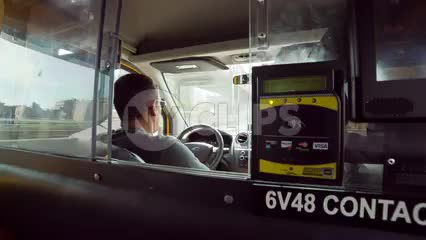 interior view from backseat of taxicab - taxi driver - driving cab in NYC
