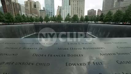names on waterfall at Freedom Tower 911 Museum