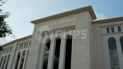 Yankee Stadium - Gate 6 - tilting down to front entrance in summer in the Bronx NYC