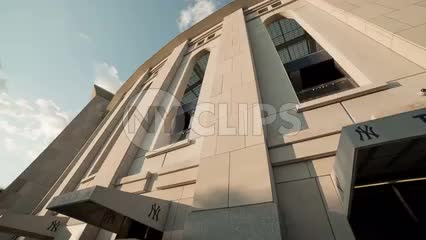 panning on Yankee Stadium exterior ticket booth - tickets at front entrance in the Bronx - upward angle in NYC