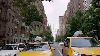 Lower 5th Ave with Taxi cabs lined up at crosswalk light - 4K in slow motion Manhattan New York City