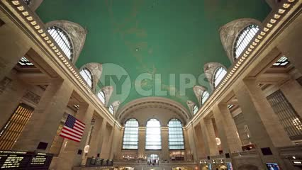 tilting from ceiling to stairs inside Grand Central Station in NYC