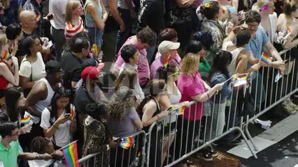 Gay Pride supporters behind barricade on summer day at LGBT Parade in NYC