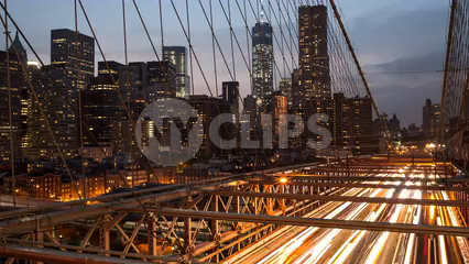 Freedom Tower viewed from Brooklyn Bridge in day to night timelapse in 4K and 1080 HD in NYC