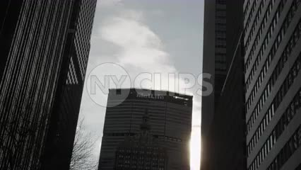MetLife Building silhouetted in Midtown Manhattan NYC