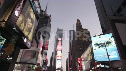 Times Square electronic digital billboards and ads bright lights in Manhattan NYC