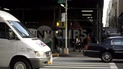 FedEx truck driving in Midtown Manhattan - slow motion traffic in NYC