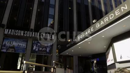 Madison Square Garden front entrance on bright sunny Fall day in NYC