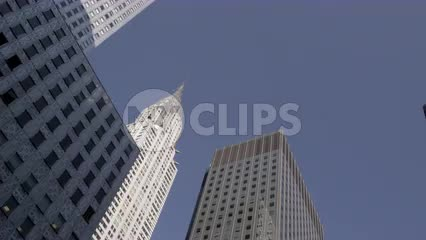 Chrysler Building from moving vehicle street view - upward angle of skyscraper in Manhattan NYC