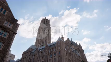 Cathedral of Saint John the Divine - 122nd Street near Harlem Manhattan - timelapse in 4K and 1080 HD NYC