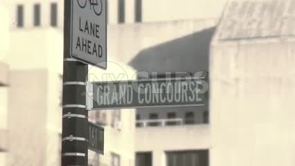 Grand Concourse street sign close-up old vintage look in the Bronx