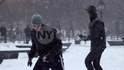 Snowball fight in Washington Square Park