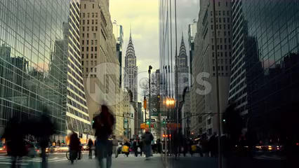 Chrysler Building view from busy Midtown Manhattan street, day to night timelapse in 4K and 1080 HD NYC