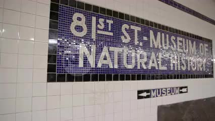 81st street subway station with B train pulling into platform - American Museum of Natural History stop in NYC