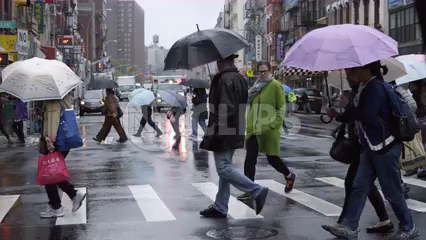 people walking in rain, crossing street with umbrellas - raining in Chinatown on gloomy day in Manhattan NYC - 4K slow motion
