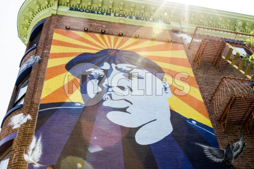 Biggie mural in Fort Greene Brooklyn on sunny day in NYC