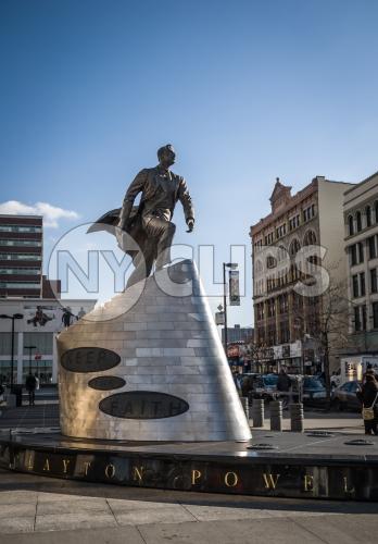 Adam Clayton Powell Jr. statue in Harlem New York City NYC