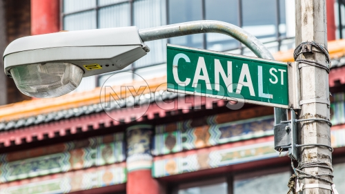 Canal Street sign close up in Chinatown in Downtown Manhattan New York City NYC