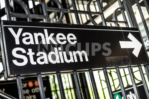 Yankee Stadium sign outside subway in The Bronx New York City NYC
