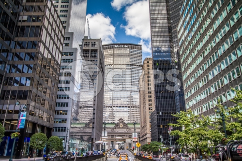 MetLife Building in Midtown Manhattan - HDR on summer day Park Avenue Grand Central Station clock from street