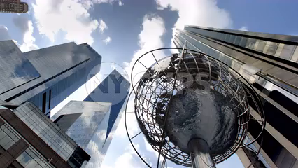Columbus Circle steel globe statue - timelapse from day to night in, Manhattan 4K and 1080 HD NYC