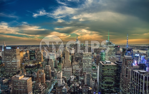 beautiful Manhattan cityscape at sunset, Empire State Building and skyscrapers in NYC