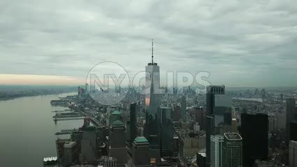 Freedom Tower aerial moving forward 4K and 1080 HD in Manhattan New York City NYC
