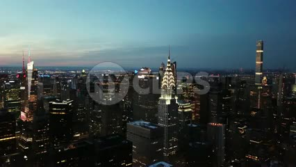 aerial Chrysler Building helicopter skyscrapers Manhattan New York City NYC 4K and 1080 HD