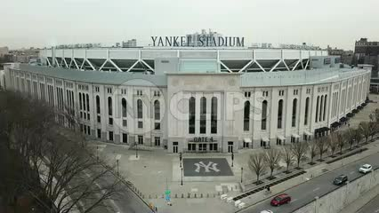 Yankee Stadium aerial front flyover in the Bronx New York City NYC in 4K and 1080 HD
