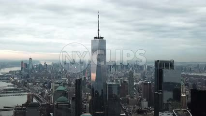 Freedom Tower aerial moving forward 1080
