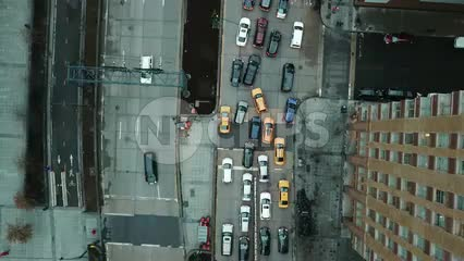 Traffic from above aerial of cars driving in congested lane New York City NYC in 4K and 1080 HD