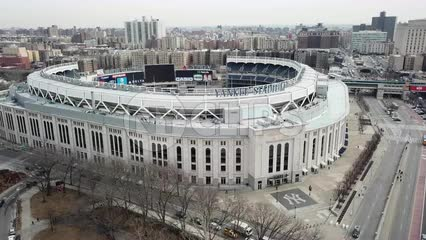Yankee Stadium in the Bronx - aerial flying across Yankees sign in New York City NYC in 4K and 1080 HD