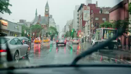 raining in Greenwich Village - driving through the rain in the Village in Manhattan New York City - driver pov with windshield wipers in NYC in 1080 HD